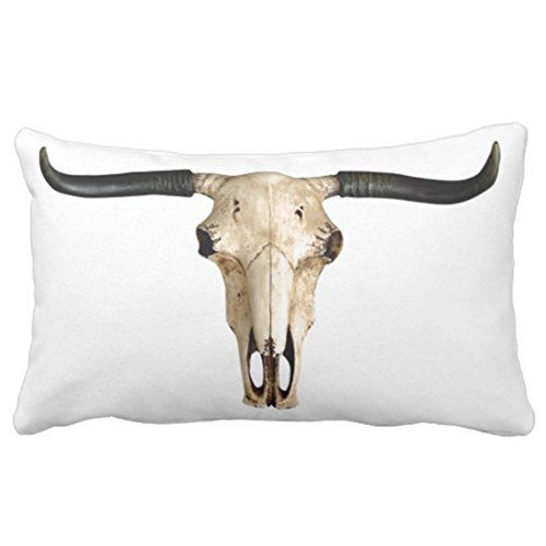 Emvency Throw Pillow Cover Longhorn Cattle Skull Decorative Pillow Case Western Home Decor Rectangle Queen Size 20x30 Inch Cushion Pillowcase