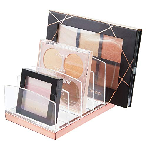 mDesign Plastic Makeup Organizer for Bathroom Countertops, Vanities, Cabinets: Cosmetics Storage Solution for - Eyeshadow Palettes, Contour Kits, Blush, Face Powder - 5 Sections - Clear/Rose Gold