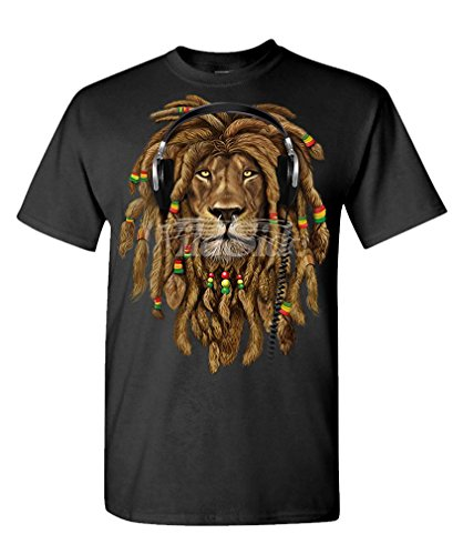 Hood Ornaments - Rasta Lion Wearing Headphones - Mens Cotton T-Shirt,