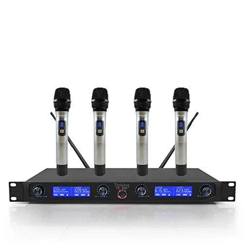 UHF Wireless Microphone System, 4 Channel Handheld with LCD Display Karaoke DJ singing Metal Mic - Four Channel Wireless Lavaliere Microphone