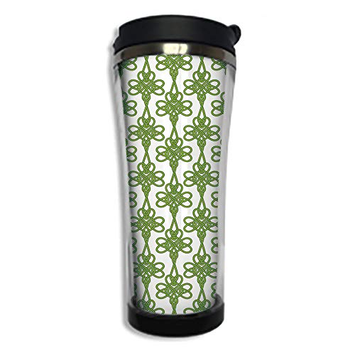 (Customizable Travel Photo Mug with Lid - 14.2OZ(420 ml) Stainless Steel Travel Tumbler, Makes a Great Gift by,Irish,Entangled Clover Leaves Twigs Celtic Pattern Botanical Filigree Inspired Retro Tile)