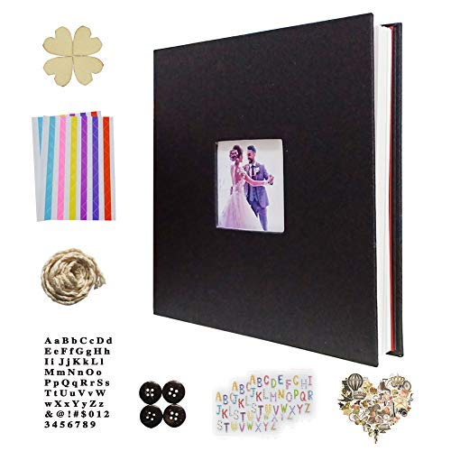 IDULL Self Adhesive Photo Album Kit 8.5''x11'' Linen Cover with Window (Black)