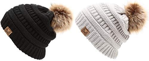 16d10079f MIRMARU Women's Soft Stretch Cable Knit Warm Skully Faux Fur Pom Pom ...