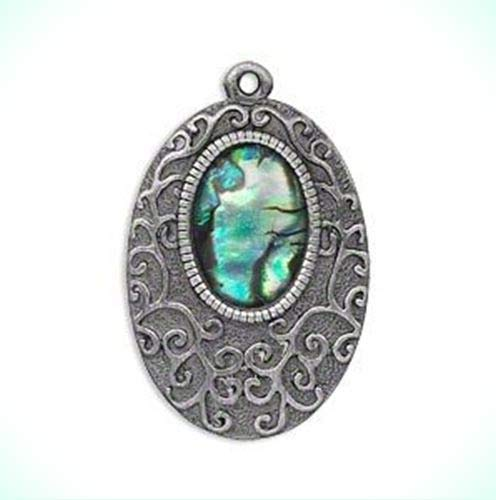 SCROLLED PAUA ABALONE SHELL OVAL ANTIQUED SILVER PLATED PEWTER PENDANT