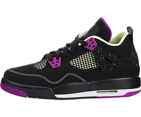 Jordan Nike Kids Air 4 Retro 30th GG Black/Fushsia Flash/Lqd Lm/Wht Basketball Shoe 5 Kids US by Jordan