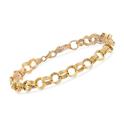 Ross-Simons Italian 14kt Yellow Gold Textured and Polished Circle-Link Bracelet by Ross-Simons