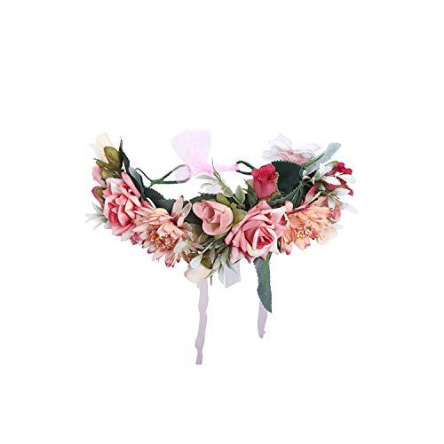Women Bezel Flower Crown Bridal Floral Headband Wreath New Summer Girls Wedding Hair Accessories Bridesmaid Tiara,Pink