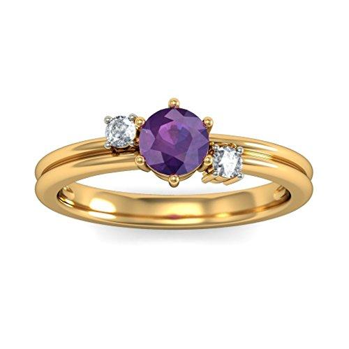 14K Or jaune, 0,08carat Diamant Blanc (IJ | SI) Améthyste et diamant Bague