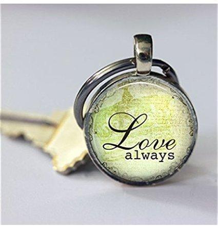 Love Always, Foto Glas Schlüsselanhänger Key kette, Glas Cabochon Schlüsselanhänger, Kunst Bild Schlüsselanhänger kakyou