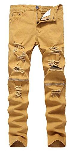 Top EMAOR Men's Fashion Denim Pants Ripped Biker Jeans Trousers for sale