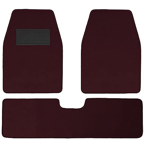 OxGord Weather Resistant 3pc Carpet Floor Mat Set For Trucks, Vans, and SUVs Burgundy Red - Country Van Carpet