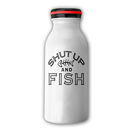 Shut Up And Fish Stainless Steel Vacuum Insulated Water Bottle Leak-proof Double Walled Milk Bottle Thermoses With Cap, 12 OZ(350 Ml) White
