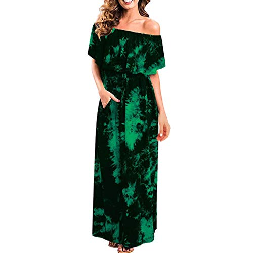 Women Maxi Long Dress Cold Off Shoulder Ruffle Party Tie Dye Split Dress R Green ()