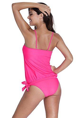 New rosa Bandeau Tie lati 2PCS Tankini set bikini Swimsuit Swimwear estivo taglia UK 14EU 42