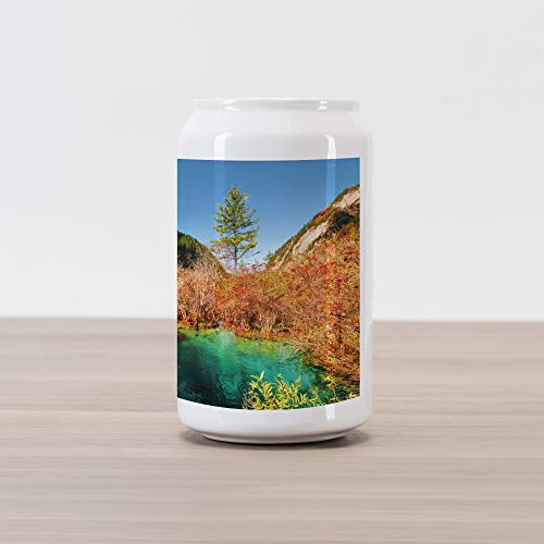 Ambesonne Nature Cola Can Shape Piggy Bank, Idyllic Fall Landscape with a Creek Among The Forest in National Park Valley Art, Ceramic Cola Shaped Coin Box Money Bank for Cash Saving, Green Amber