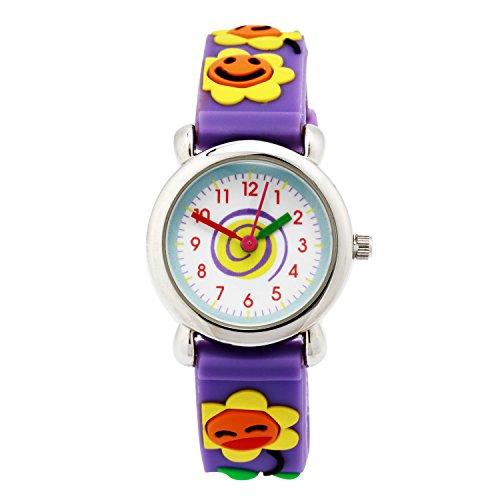 3 Hand Small Watch - Jewtme Cute Toddler Children Kids Watches Ages 3-8 Analog Time Teacher 3D Silicone Band Cartoon Watch Little Girls Boys (Sunflower Purple)