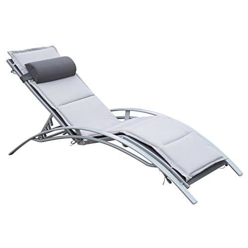 Outsunny Patio Reclining Chaise Lounge Chair with Cushion (Modern Patio Lounge Chair)
