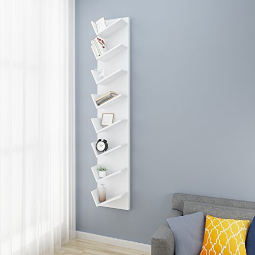 Hardwood Cd / Dvd - Homevol XXL 8- Compact Bookcase Leaning Bookrack Book CD DVDS Media Cabinet Book Shelf Display,White