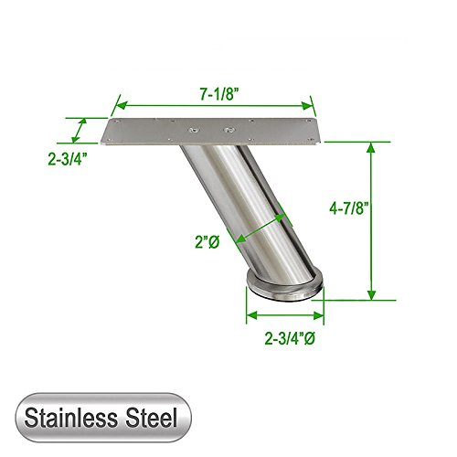Stainless Steel Metal Sofa Legs, Furniture Legs, Angled Design, Round Tube, 4-7/8''H - Set of 4 NEW (4-7/8'' H)