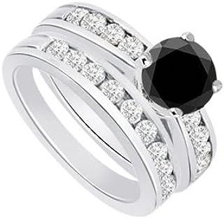 Black White Diamond Engagement Ring with Wedding Band Sets 14K White Gold 1.25 CT TDW