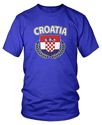 (Amdesco Men's Croatia Flag Shield, Croatian Flag Crest T-Shirt, Royal Blue Small)