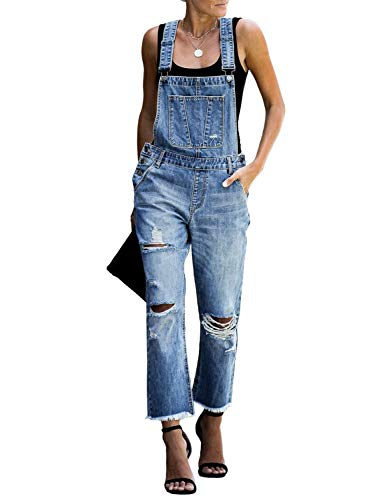 luvamia Women's Casual Stretch Adjustable Denim Bib Overalls Jeans Pants Jumpsuits