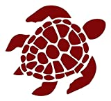 Sea Turtle [Pick Any Color] Vinyl Transfer Sticker Decal for Laptop/Car/Truck/Window/Bumper (5in x 4.5in (Car Size), Maroon)