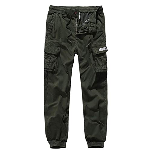 (Men's Cargo Pants Outdoor Lightweight Hiking Camping Multi Pockets Reinforced Knees Climbing Mountain Pants (L, Army Green))