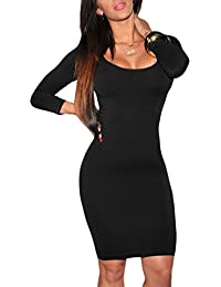 Women's Crewneck 3/4 Sleeve Spandex Stretchy Fitted Bodycon Club Dress
