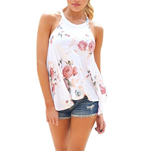 Gyouandme Summer Print Shirt Blouse Crew Neck Sleeveless Flowy Tank Tops (M, White)