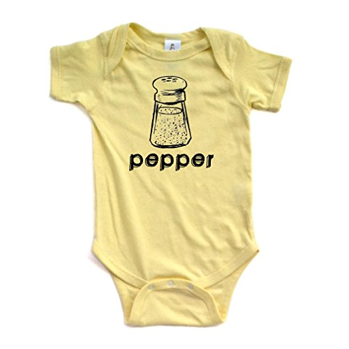 [Halloween Costume - Cute Twin Short Sleeve Bodysuit With Pepper (Goes With Salt) Print (Newborn, Light] (Halloween Costumes Ideas For Newborns)