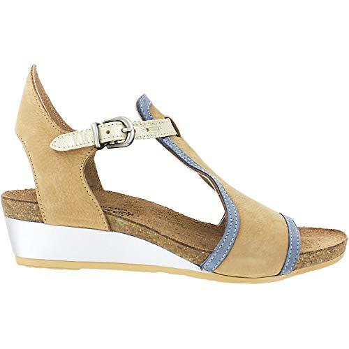 NAOT Footwear Women's Fiona Nude Nubuck/Feathery Blue Nubuck/Gold Leather Wedge Sandal 11 M US