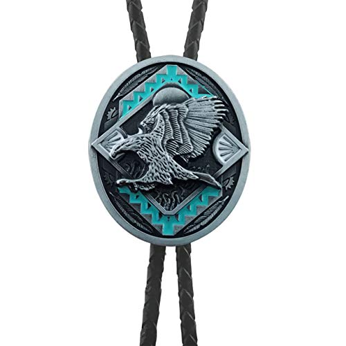 QUKE American Western Cowboy 3D Bald Eagle Sunset Bolo Tie Genunie Leather