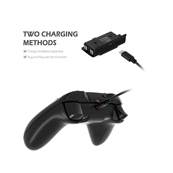 Battery Pack for Xbox One Controller, YCCTEAM 1200mAh Rechargeable Battery [2-Pack] for Xbox One/X/S/Xbox One Elite… 4