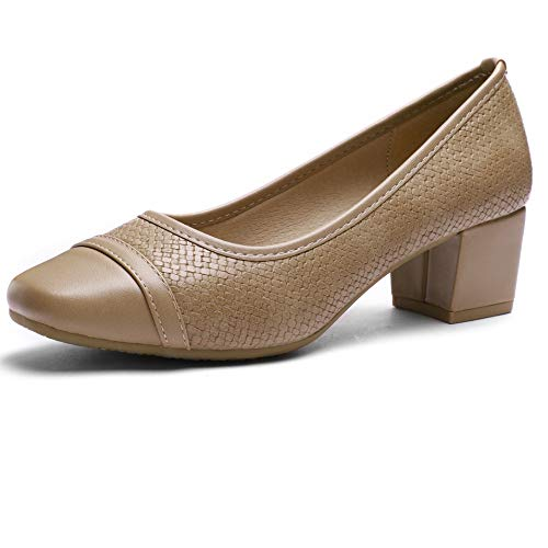Pumps for Women Chunky Heels Apricot