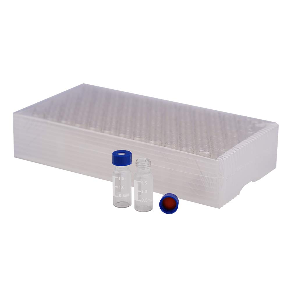 ,9-425 Thread Top 2ml Autosampler Vials with Writing Patch,with 9mm Blue ABS Screw Cap Fit HPLC and GC Autosampler,Set of 100 Red PTFE//White Silicone Septa