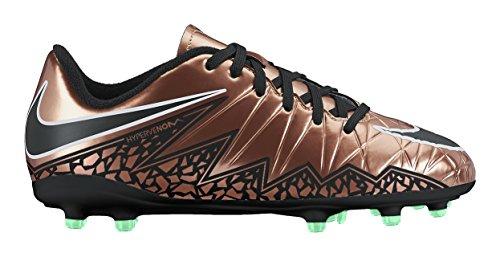 Nike JR Hypervenom Phelon II FG - Botas de fútbol, Niños Marrón / Negro / Blanco (Mtlc Rd Brnz / Blk-Grn Glw-White-)