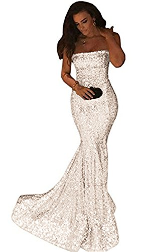 Uryouthstyle Sparkly Long Mermaid Strapless Evening Prom Dresses White-8