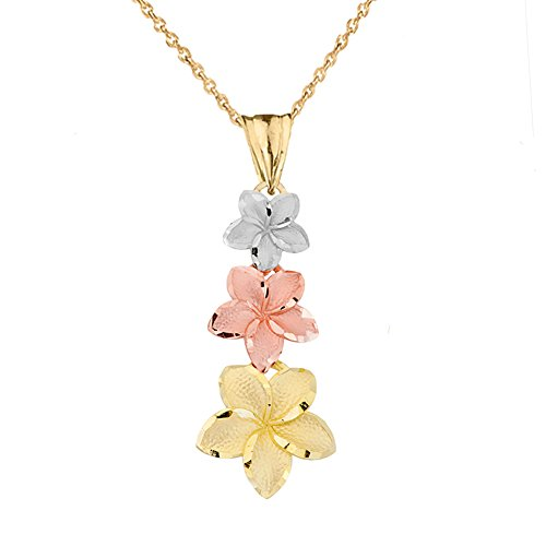 Elegant 14k Tri-Color Gold Hawaiian Plumeria Flowers Charm Pendant Necklace, 16