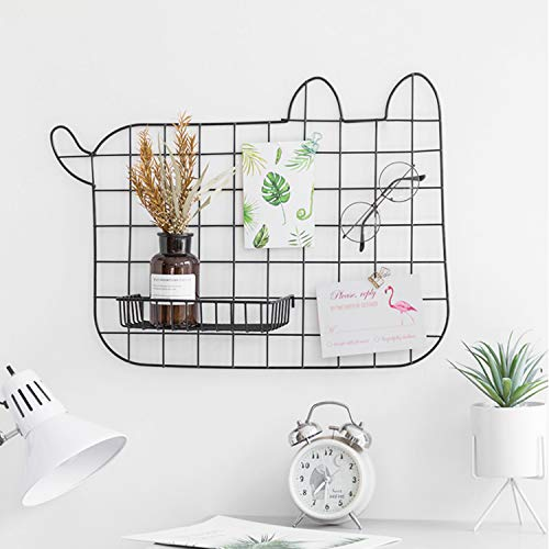 GBYAN Cat Grid Wall Panel, Decorative Iron Rack Clip, Painted Wire Photograph Grid Wall Hanging Picture Multifunctional Photo Hanging Display Wall Storage Organizer,25.6inch x17.7inch, Black