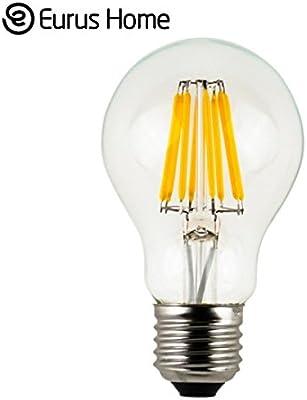 Cálido hogar Vintage A19 bombilla de filamentos LED 6 W bombilla LED, tornillo medio E26 Base, claro blanco suave 2700 K, claro bombilla Edison LED 60 W ...