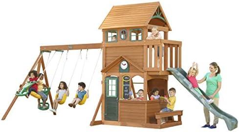 Amazon Com Kidkraft Ashberry Cedar Wood Swing Set Playset F23075 Toys Games