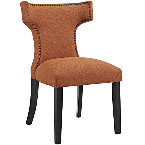 MO- Curve Mid-Century Modern Upholstered Fabric with Nailhead Trim, One Chair, Orange - MODWAY EEI-2221-ORA
