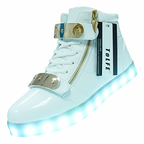 Light LED Top ToLFE USB High Shoes Up Charging Women Flashing White Men Sneakers qff0gY6