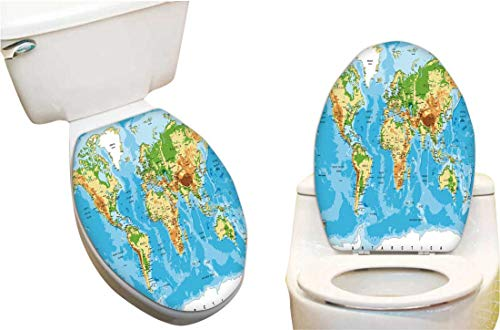 Toilet Seat Sticker Physical map The worl Toilet Sticker Decal Fun Home Decor15 x17