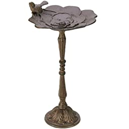 Cast Iron Flower Design Bird Bath