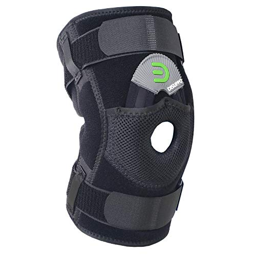 DISUPPO Hinged Knee Brace Support Women Men, Adjustable Open Patella Stabilizer for Sports Trauma, Sprains, Arthritis, ACL, Meniscus Tears, Ligament Injuries (Hinges Unremovable, Medium) (Support Elastic Hinged Knee)
