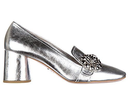 Prada women's leather pumps court shoes high heel shine silver US size 8.5 1S388H JIC F0118