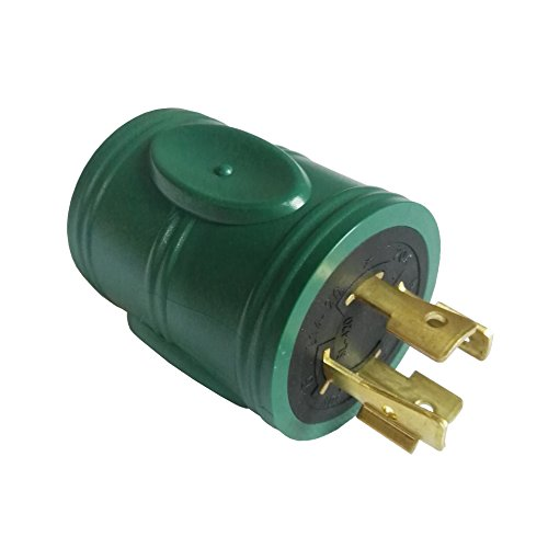 Price comparison product image Parkworld 691593 Power Adapter 4-Prong 20A Generator Locking L14-20P Male Plug to RV 30A TT-30R Female Receptacle, Green