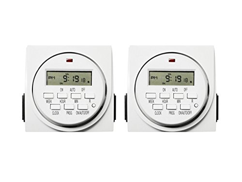 iPower 2-PACK 7 Day Programmable Digital Electric Timer, Dual Outlet, Grounded